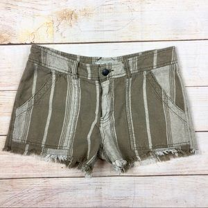 Free People striped linen blend shorts frayed hem